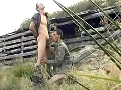 Military twink gives head his paramour