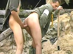Tense anal banging with cum flow on war