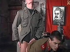 Teenage Soviet policeman fuck and goo