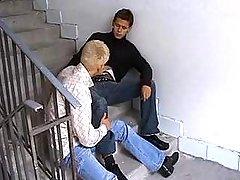 Teenage boyz suck per others weenies in dirty corridor