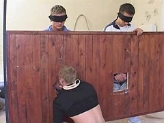 Gang of fresh gays have group blow job enjoyment in the barn