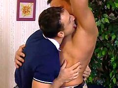 Kinky dude slobbering his paramours underarm and dick