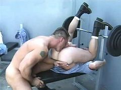 Powerful criminals assfuck and jizz on prison yard