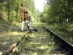 Phat twinks gullet dongs in forest