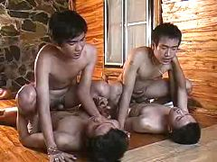 2 couples of Chinese twinks fucking on the floor