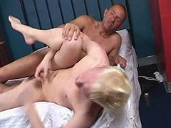 Cock hungry homosexuals have a quickie on leather ottoman