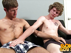 Blake jerks off the new boy for the first time