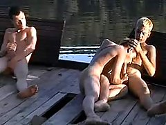 Village faggots blowing by the river