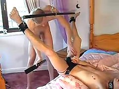 Chained man-lover slave getting dug
