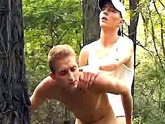 Curious males try anal love making act in forest