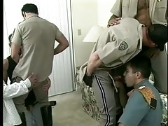 Damp gay policemen uniform porn massive group sex in 7 movie scene