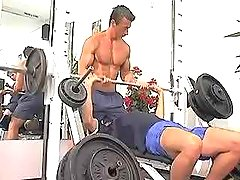 Triple cute homosexual guys have getting enjoyment in gym