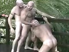 Lusty mellow gays suck and kiss in group