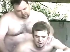 Bear grown gay fucks juvenile stud in garage