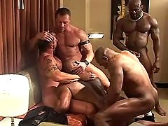 Five mellow fruits suck ramrods and fuck in orgy