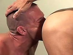 Faggot boy sucks mature cocks by bends