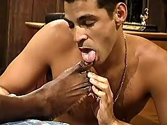 Darksome gay slut serving hungry hunk