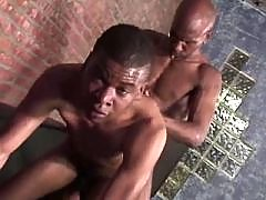 Filthy black gay gets slammed vertical
