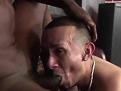 Nasty bad darksome gay getting slammed