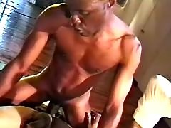 Black gay bitch serving hungry hunk