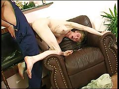 Fruit plumber uses his meaty pantyhose to press a straight guy's mouth and stiff ass