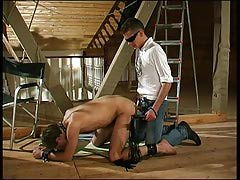 Kinky males play S&m at the attic with a slave-guy apple bottoms and mouth bonked