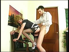 Upskirt faggot sissy in soft nylons giving head and getting banged from behind