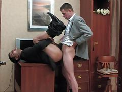 Unconventional co-worker and his twink boss having cock-break after hard working day