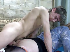 Sleeping guy getting his toy blown and prepared for anal by a lustful effeminate