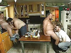 Chunky mature homosexual guys swallow knobs on kitchen