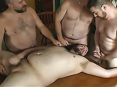 Chubby gays sex cream by turns on face