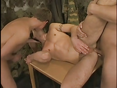 Hot military fruit kissed and penetrated by chaps