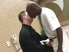 Interracial gays take up with the tongue by pool