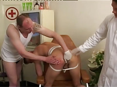 Gay doctor and man fingering tight opening by turns