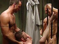 Horny prisoners share non-professional man