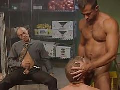 Muscle homosexual sucks hairy prisoner