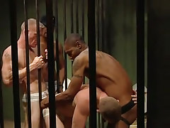Murky gay guys fuck white prisoners in all holes