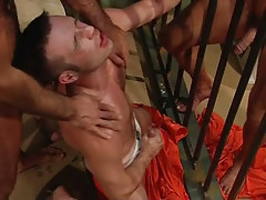 Homosexual dude sub jizzes in prison group