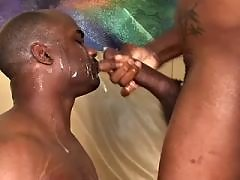 Beefy black faggot gets asshole boned