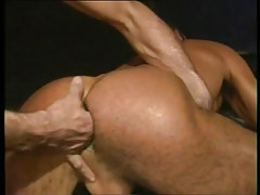Lusty faggot gets fingering in constricted anal opening