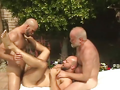 Old and melodious fruits put on hairy dilf by pool
