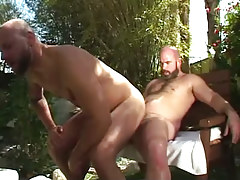 Hairy gay guy jumps on taut ramrod outdoor