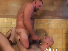 Bear gay swallows hot cum in shower-room