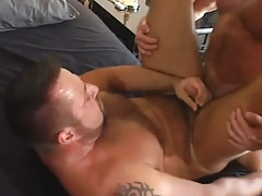 Mature bear man-lover cums with pecker in his asshole