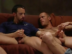 Horny bear fruits jerk off on sofa