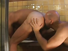 Bear twink serves melodious  chocolate hole in shower