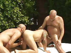Bear dilf sucks old gay guy and licked by partner by pool