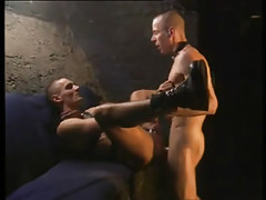 Two faggots in leather insane fuck