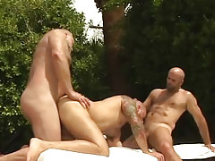 Lusty mature bears swallow and fuck in team fucking action outdoor