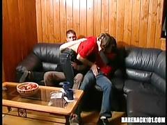 3 young gay guys lick on leather ottoman